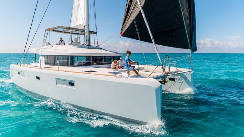 Charter catamaran sailing in Portugal